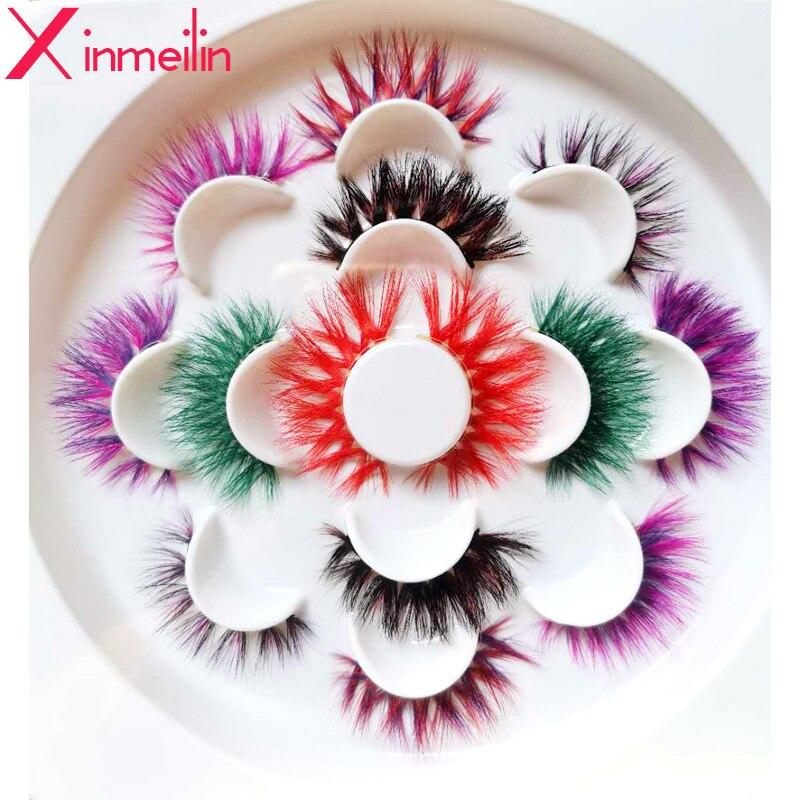 50 pares de pestañas de visón de color 3D, venta al por mayor, pestañas naturales largas individuales gruesas y gruesas, maquillaje colorido, extensiones de pestañas, suministros
