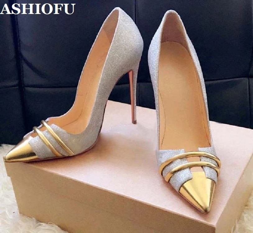 Zapatos de tacón de aguja hechos a mano nuevos de ASHIOFU para mujer, zapatos sexis con punta de balleta para fiesta, zapatos de moda de noche de gran tamaño