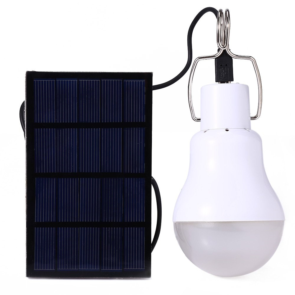 Bombilla LED de energía Solar, luz impermeable para exteriores, Panel de alimentación Solar portátil para exteriores, Bombilla LED para lámpara, tienda de campaña al aire libre, luz de pesca
