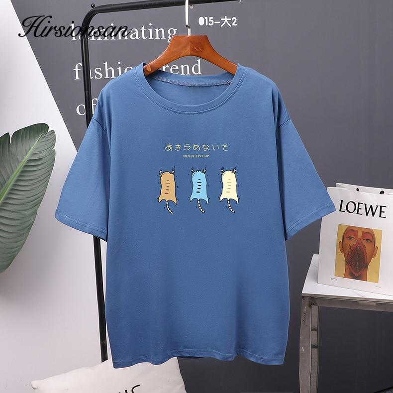 Hirsionsan, camiseta para mujer impresa, 2020, nueva camiseta de manga corta de Kawaii Coreano caliente, camisetas 100% de algodón suave, camisetas casuales para niñas