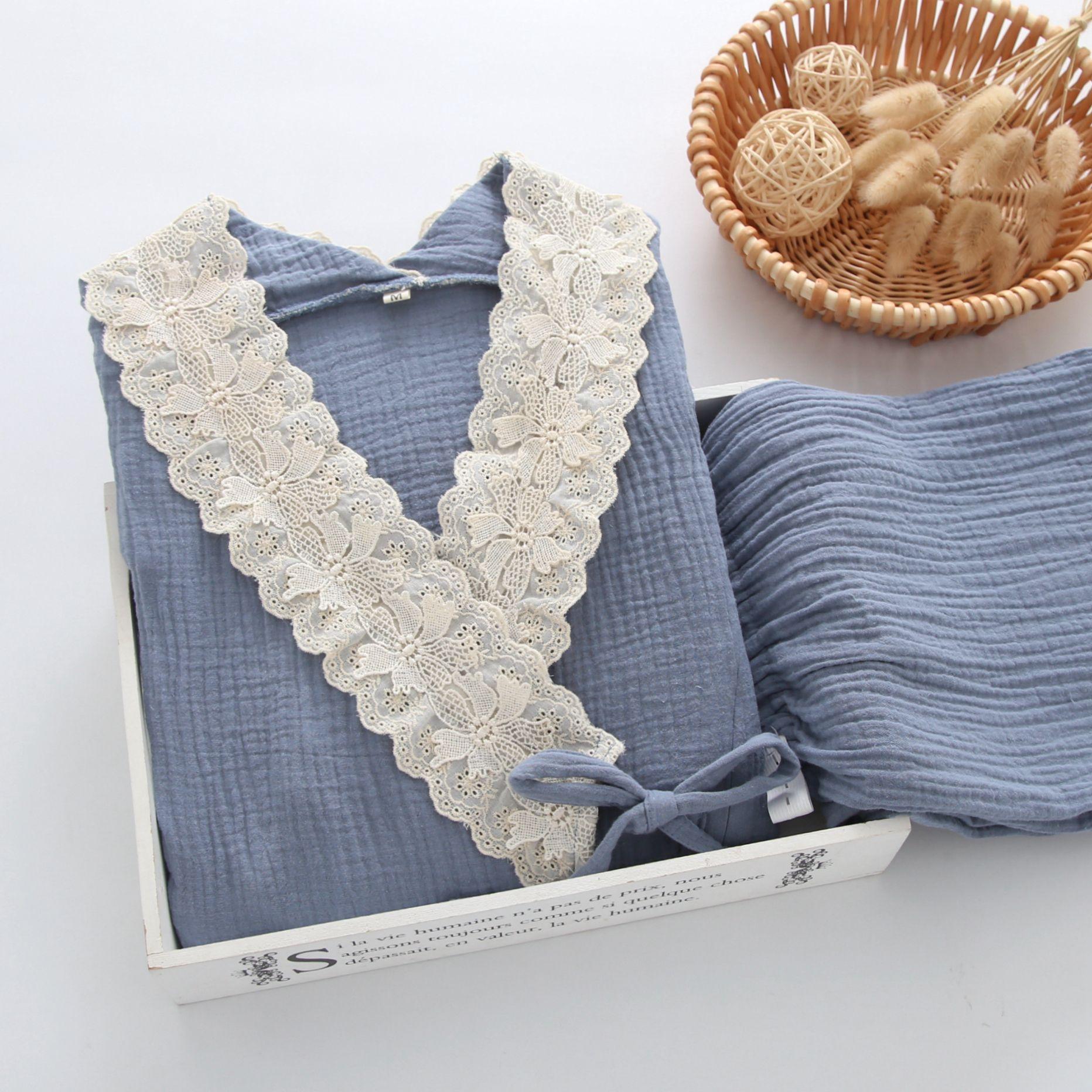 Fdfklak Cotton Maternity Nightie Nursing Pajama For Pregnant Women 2020 Spring Autumn Long Sleeve Lace Sleepwear Women enlarge