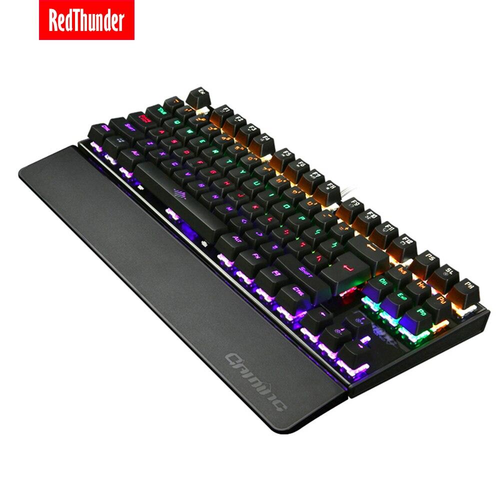 Механическая игровая клавиатура с подсветкой RedThunder с синими переключателями 87 клавиш 100% защита от привидения большая Съемная ручная подставка для геймеров