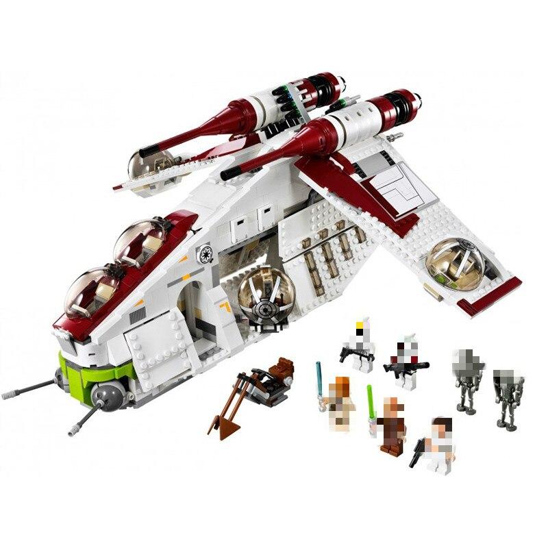 05041 guerra ucs a república gunship x asa star tie lutador starwars construção blocos lepining conjunto tijolos brinquedos 75021 75102