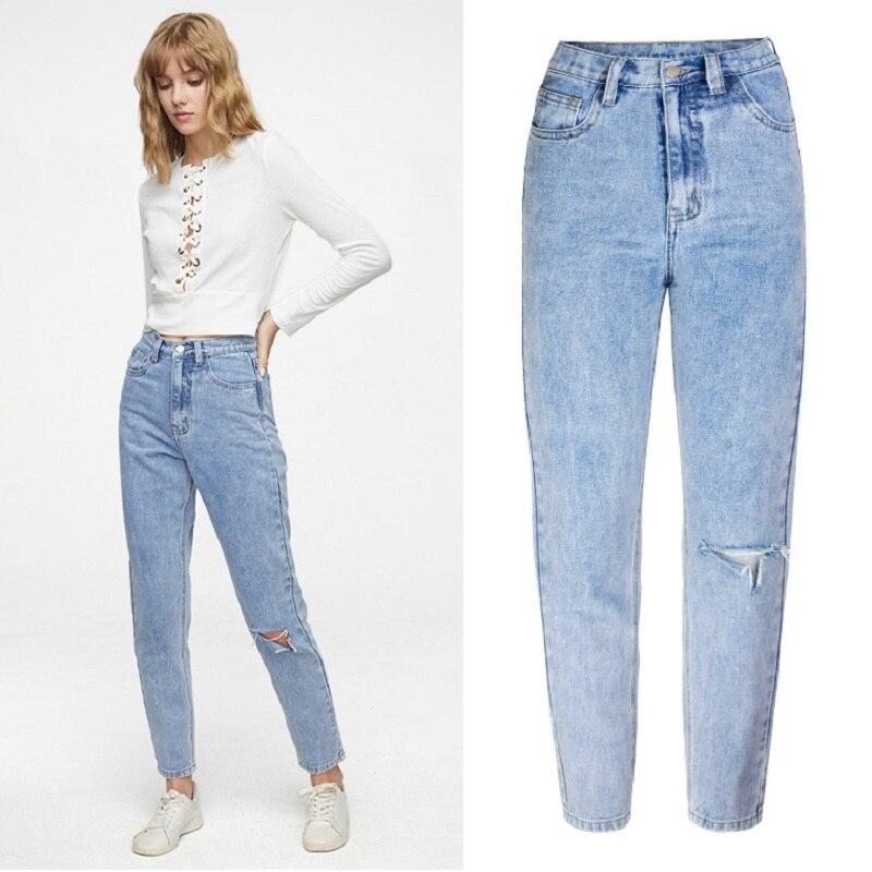 Рваные джинсы для женщин, одежда больших размеров, прямые синие джинсы с высокой талией, потертые джинсы, распродажа осенних товаров, 2021