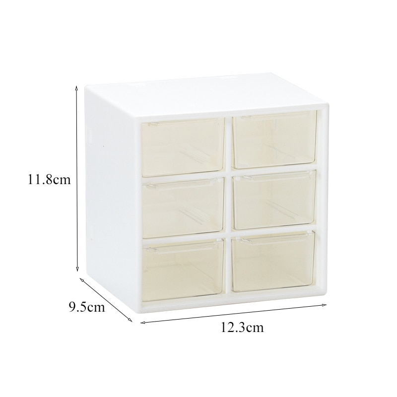 luluhut 6 grids plastic drawer,Stationery and jewelry storage drawers,Dormitory desk Makeup organizer,Beads Earrings Storage Box