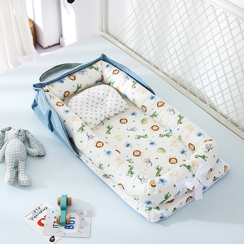 Portable Baby Lounger Cotton Breathable Infant Bassinet Portable Sleeping Baby Bed for Cuddling Loun
