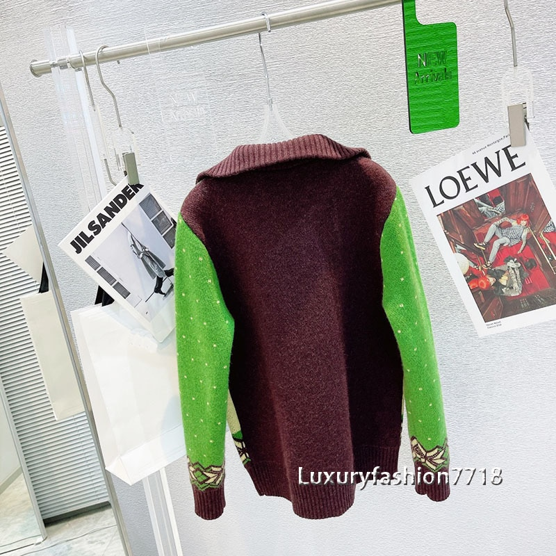 Luxury designer new style fashion autumn sweater for women Cartoon animal jacquard Lapel wool pullover sweaters jumpers clothes enlarge