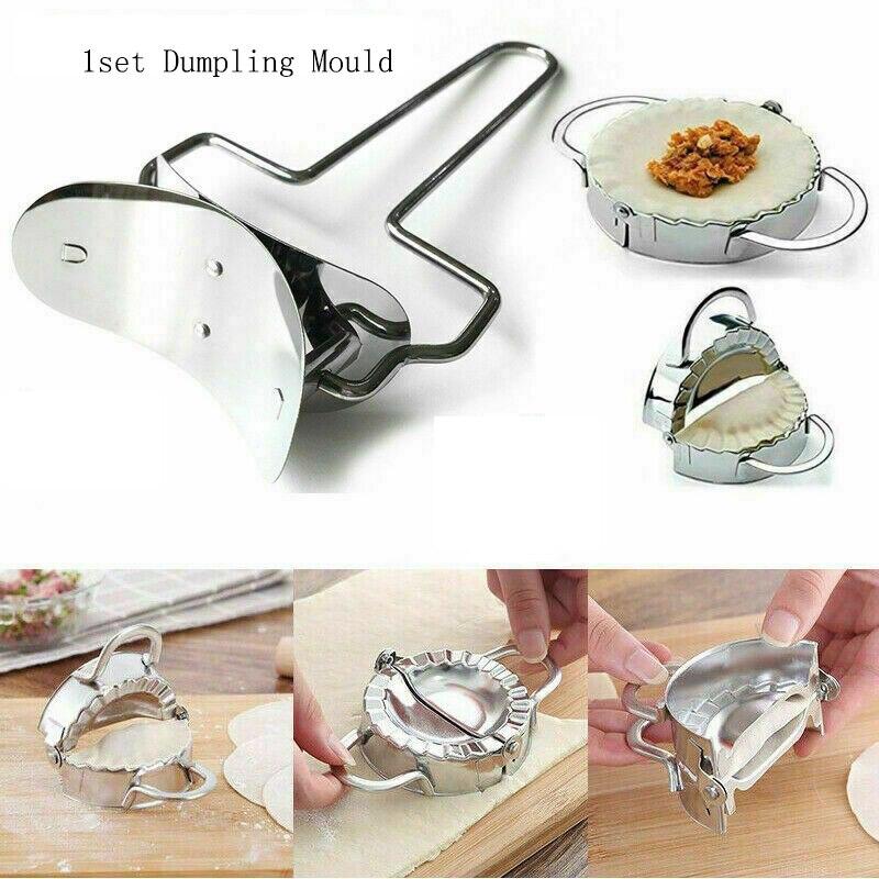 1set Stainless Steel Pastry Dumpling Mould Cutter Jiaozi Maker Tool Form Wrapper Presser Molds Dough Mould Cutter Kitchen Tools