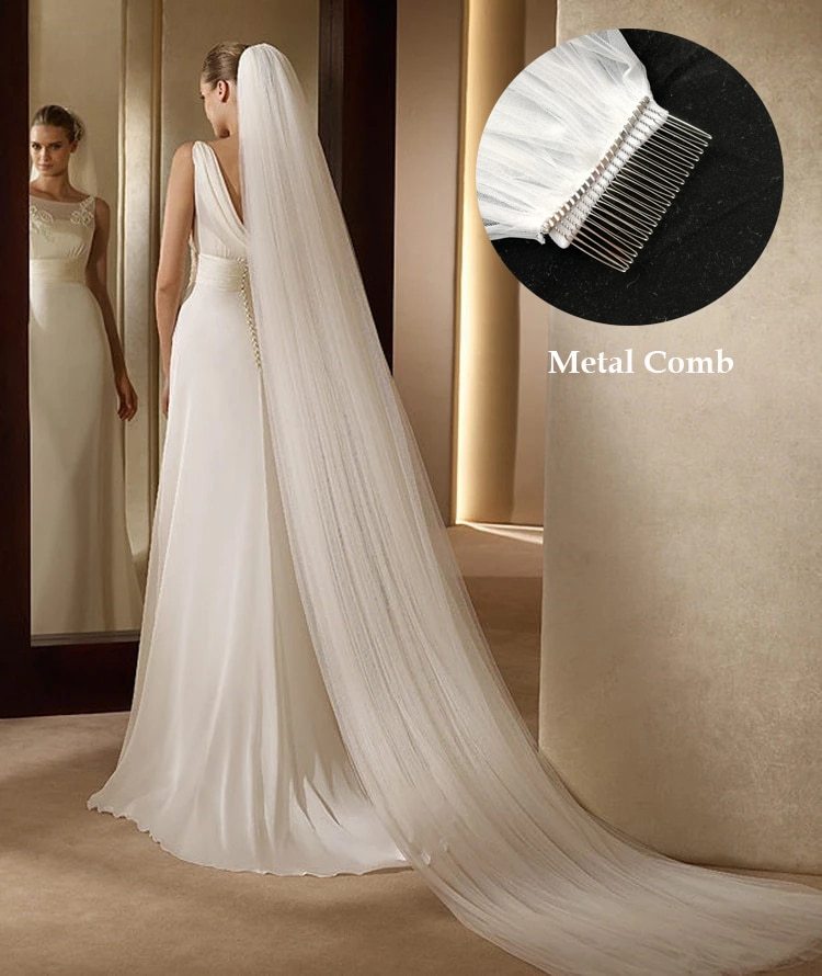 Fashion Wedding Veil 3 Meters 1 Layer Bride Headdress White Ivory Simple Bridal Veil With Comb Wedding Accessories De Novia Velo