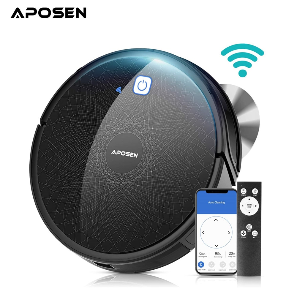 Aposen Wi-Fi Robot Vacuum Self-Charging Auto Robotic Vacuum Cleaner Works with Alexa Ideal for Home Pet Hair Carpets Hard Floors