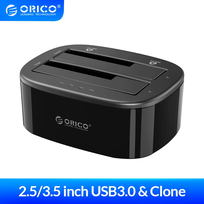 ORICO Clone 2.5 3.5 inch Hard Drive Docking Station USB3.0 1 to 1 Clone Dual-bay HDD and SSD Hard Drive Dock -Black (6228US3-C)