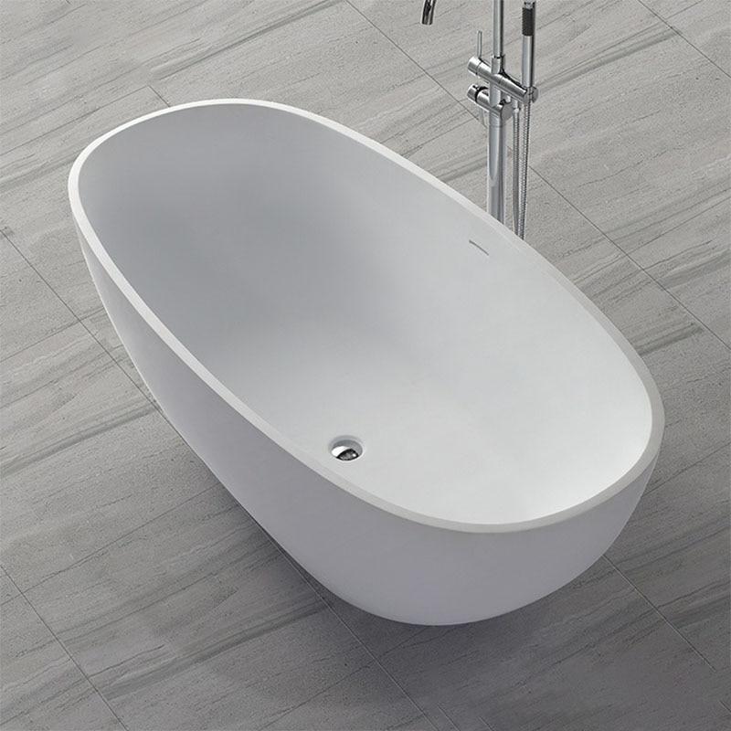 1640x770x550mm Acrylic Resin Stone Solid Surface Bathtub Freestanding Homestay Hotel Engineering Tub Matt Finishing KKR-B008