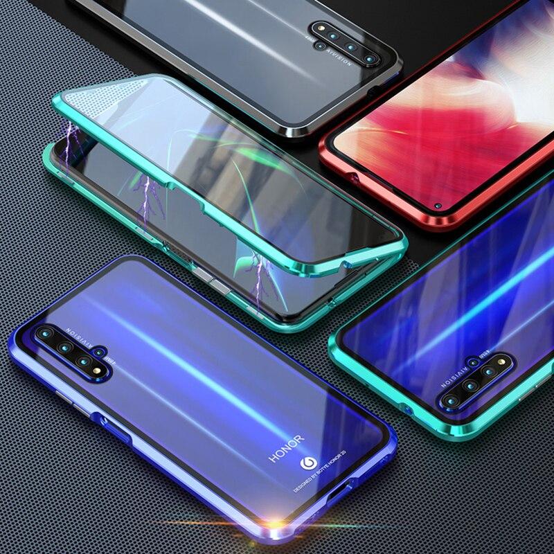 Fundas de vidrio templado para Huawei Honor 10 Lite 8X 9X Plus 20 Pro 10i 20i P Smart 2019 Metal de doble cara de vidrio móvil de protección