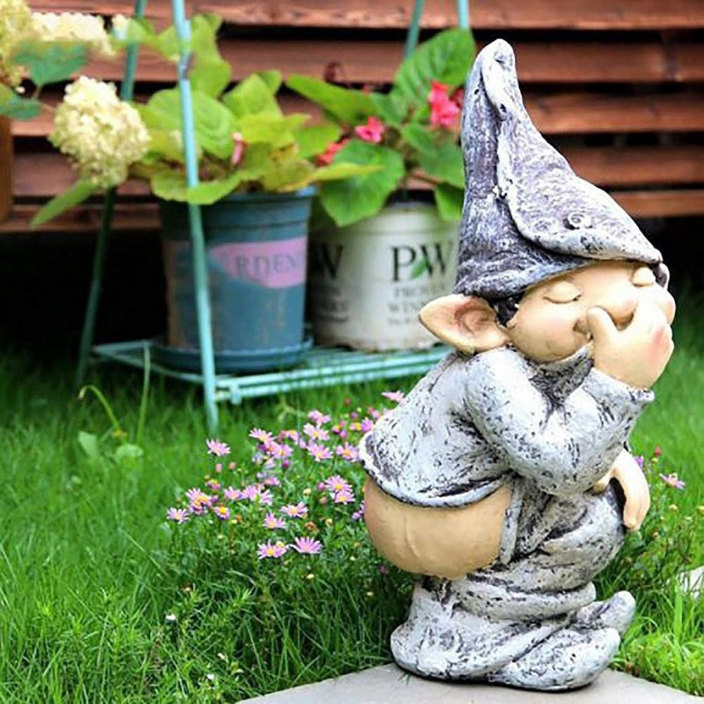 Elf Off Pants Resin Handicraft Ornaments Garden Ornaments Elf Decoration Decoration Garden Home Decoration 4pcs magic hair elf trolls ugly baby troll bobby princess base model toy car decoration ornaments