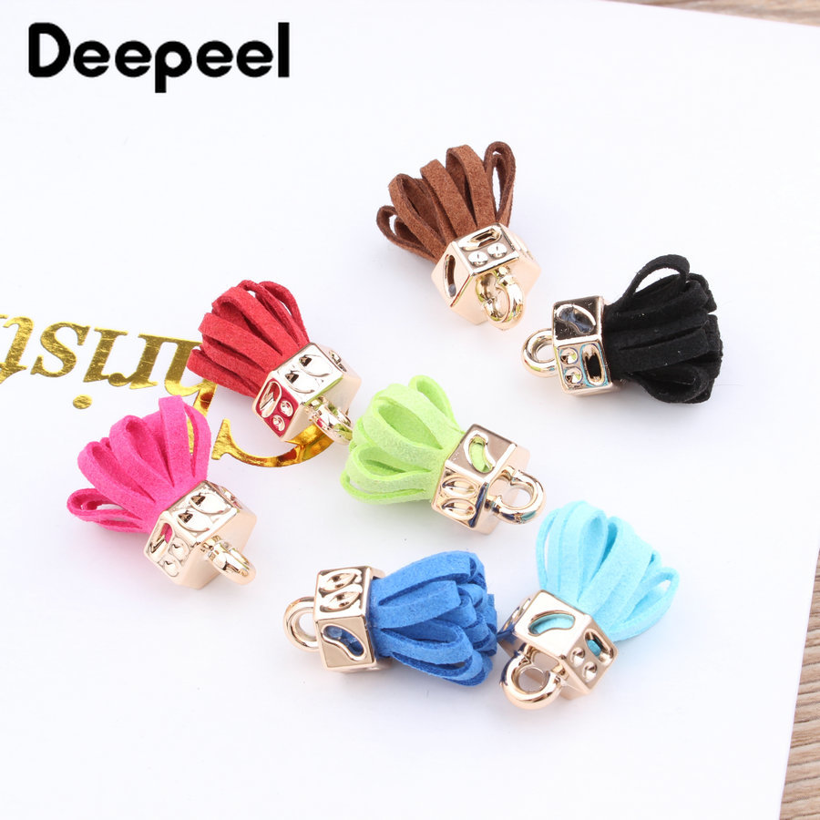 10Pcs Deepeel Colorful Suede Small Tassel Ornament DIY Bags Jewelry Materials Accessories Key Chain Fashion High-end Bag Pendant