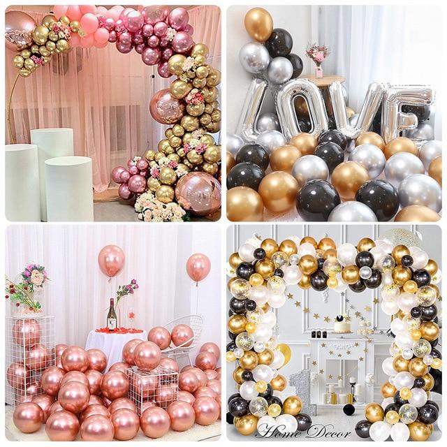 50pcs Rose Gold Metal Balloon Happy Birthday Party Decoration Kids Boy Girl Adults Wedding Ballon Bride To Be Baloon