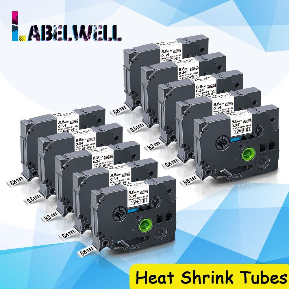 Labelwell 10 قطعة HSE-221 الحرارة يتقلص أنابيب ل Brother Hse221 Hse 221 ل Brother P اللمس التسمية صانع 8.8 مللي متر أسود على الأبيض