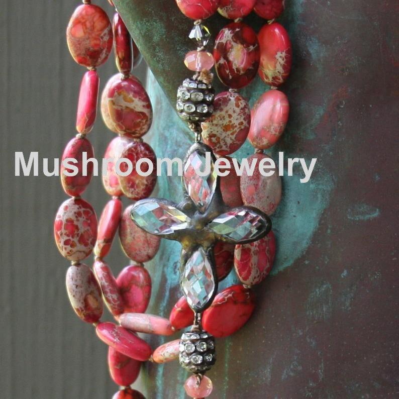 Hand Knot Bohemian Jewlery Beads  Beads Cross Pendant Stone Necklace Women