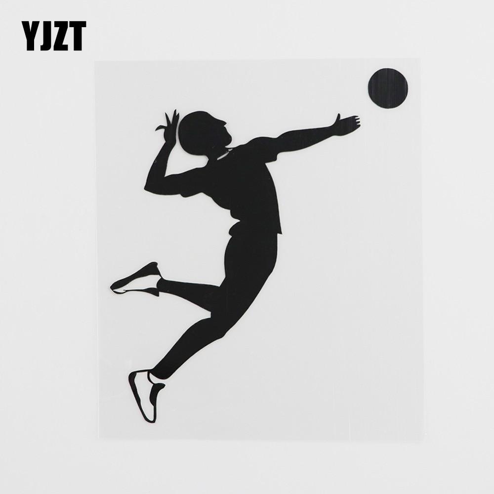 YJZT Виниловая наклейка для игры в волейбол, 11,2 смх12,9 см, черный/серебристый, 8A-0337