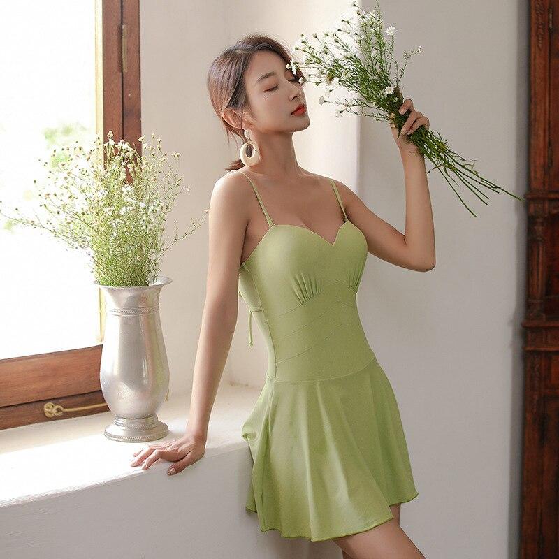 Swimsuit 1 Piece Woman Rashguard Female Retro Ladies One Closed Swimsuits 2019 Summer Fruit Green Korean Sexy Push Up Slim
