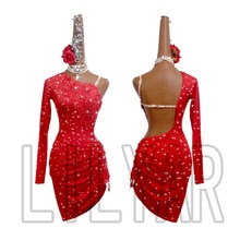 New Latin Dance Dress Competition Dress Costumes Skirt Performing Dress Adult Customize Children Red