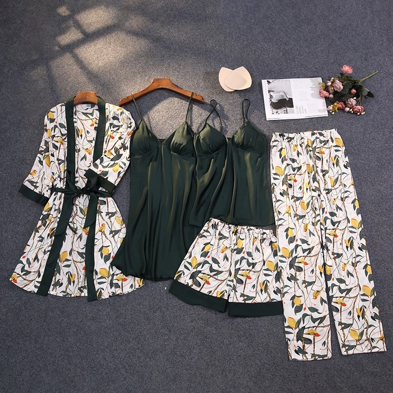 Print Pajamas Set Silky Women 5 Piece Sleepwear Satin Lace Sleep Pyjama Lounge with Belt Chest Pads