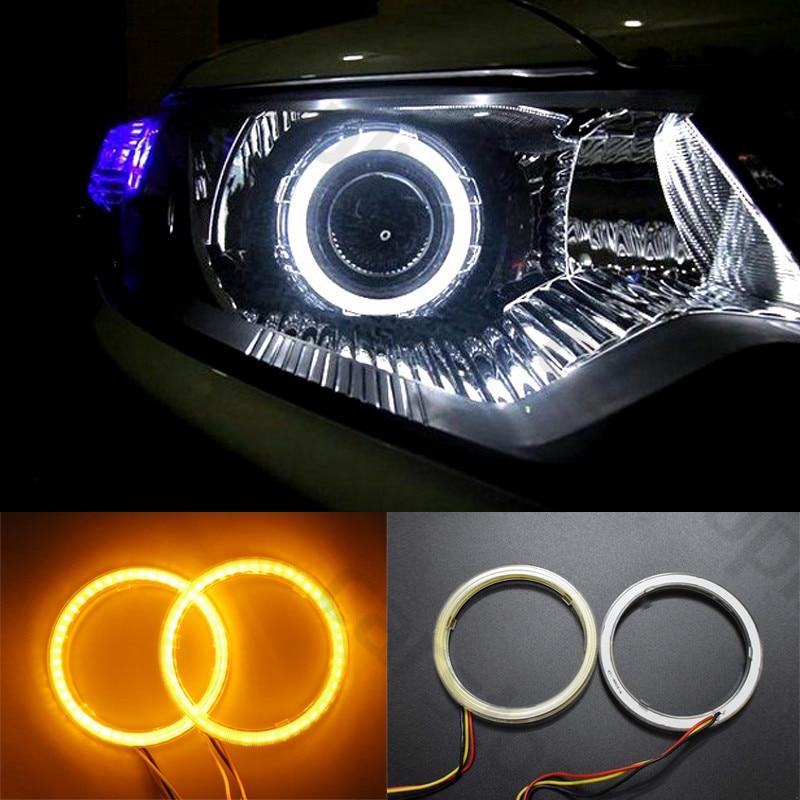 2x  70 80 90mm White Yellow LED Angle Eyes Halo Rings Drive Switchback Turn Signal Light Car Headlight Auto Lamp