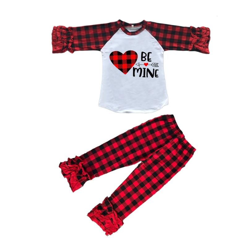 ملابس ربيعية للفتيات الصغيرات ، طقم ملابس للفتيات الصغيرات ، بنطلون منقوش على شكل قلب مع بلوزات قطنية مكشكشة