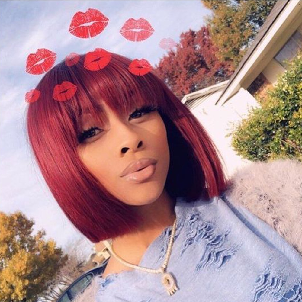 BEAUDIVA pelucas de cabello humano RedShort sin pegamento para mujeres negro con Peluca de pelo lacio brasileño Rubio amarillo Burg pelucas de Bob corto