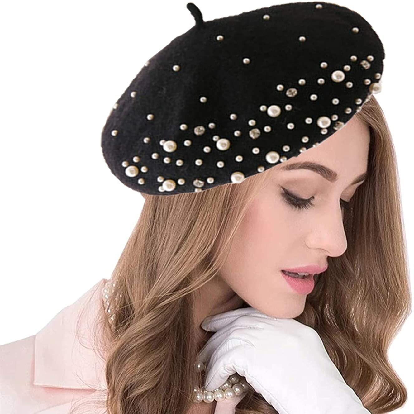 2021 Winter Warm Rhinestone Pearl Beret Hat Classic Beanie Caps French Berets Casual Wool Winter Hat