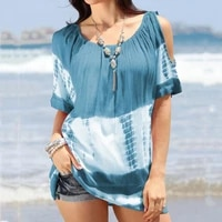 summer chic women t shirts cold shoulder short sleeve t shirts trendy round neck tie dye print loose top for going out