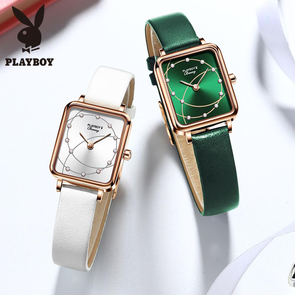 Square Women Fashion Watches Elegant Ladeis Quartz Wristwatches Luxury Brand Black Green Female Watch Leather Clock