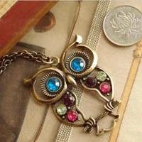 imixlot vintage colors hollow cute owl pendant statement necklace retro kolye hollow carved long sweater chains necklace boho