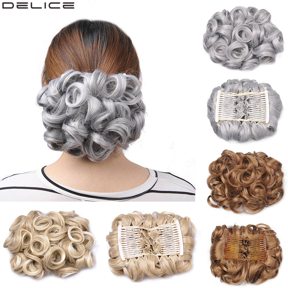 Delice Womens Curly Elegant Chignon Synthetic Gray Elastic Net Hair Bun With Two Plastic Combs Updo Cover Wedding Piece