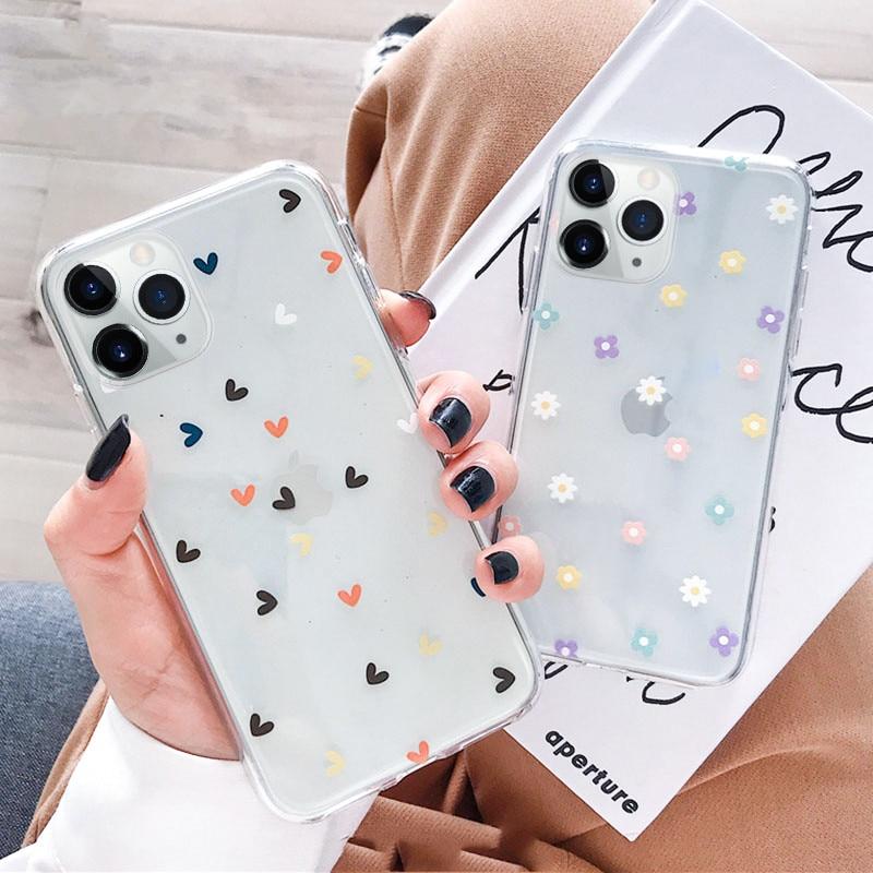 Claro Caso de Telefone Flor Para Samsung A51 A71 A70 S8 A50 S9 Nota 9 S9 S7 A5 A8 A30 S10 plus s10e S20 Capa Capa de Silicone Macio
