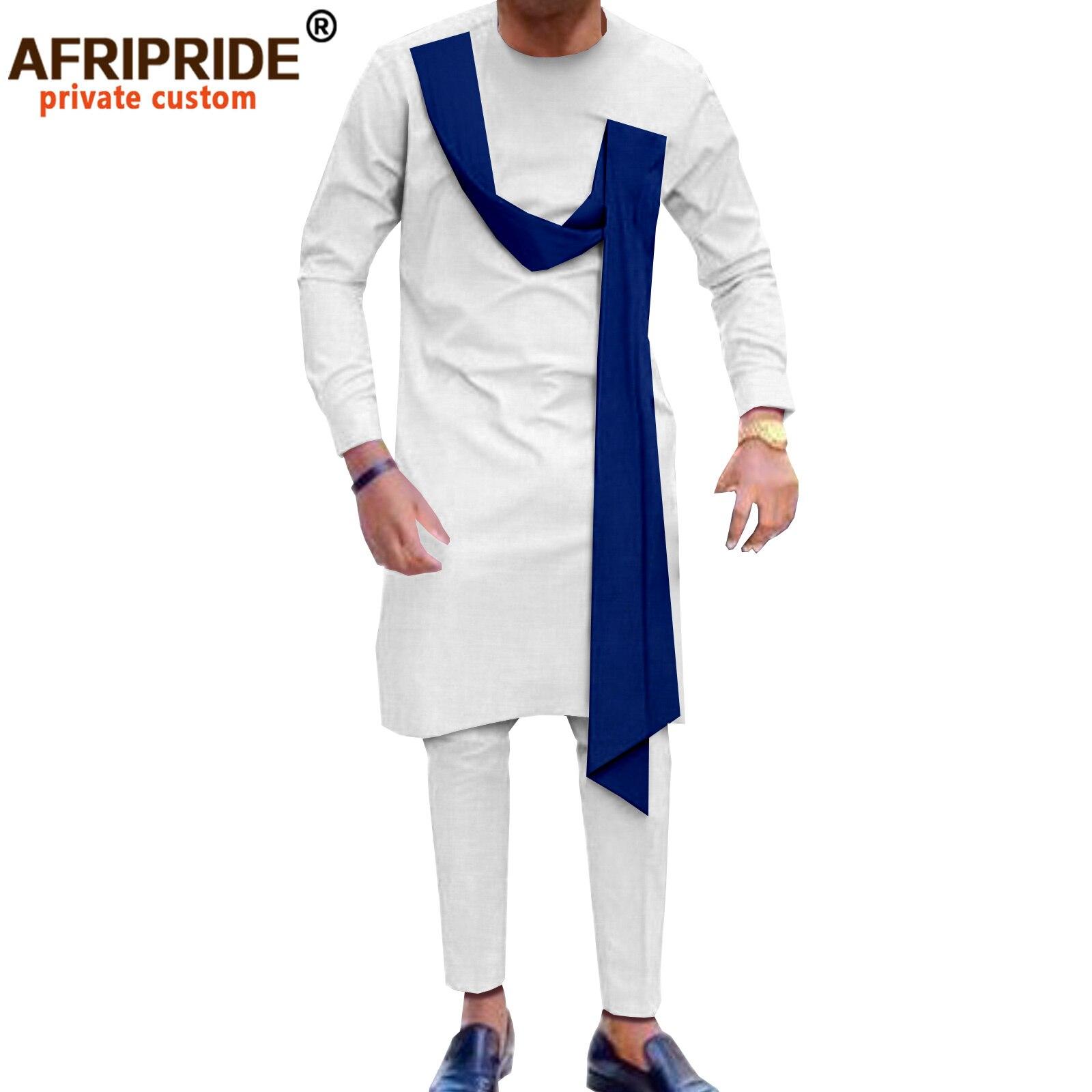 الملابس التقليدية الأفريقية للرجال طويلة الأكمام Dashiki القمصان والسراويل 2 قطعة مجموعة ملابس القبلية لحفل الزفاف A2116017