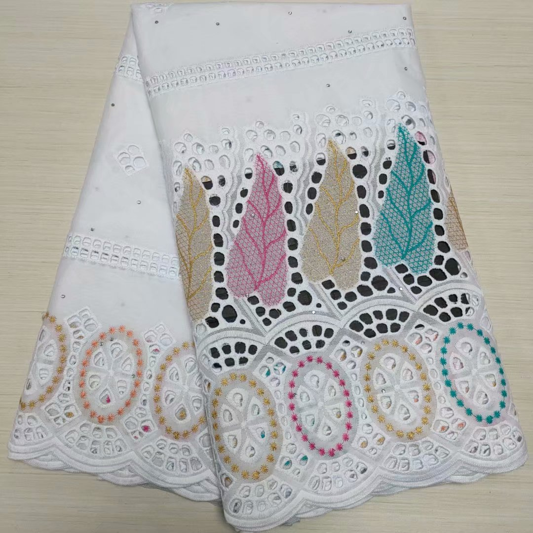 TC05 Best selling African cotton lace fabric stones , White main body cotton embroidery Ladies dress