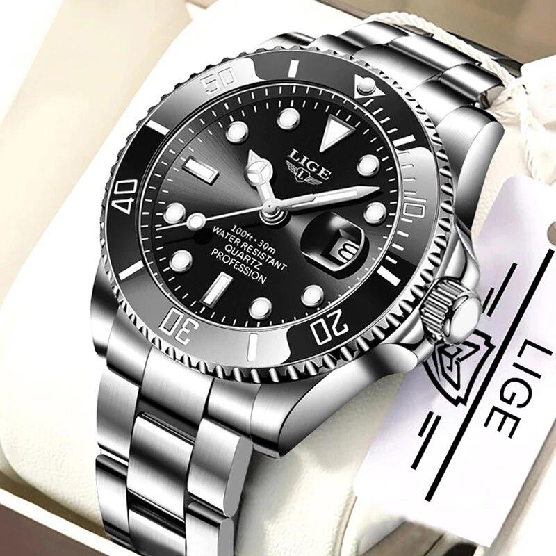 LIGE العلامة التجارية الفاخرة موضة جديدة الرجال ساعة 30ATM مقاوم للماء تاريخ ساعة الذكور الرياضة ساعة الرجال كوارتز ساعة اليد Relogio Masculino