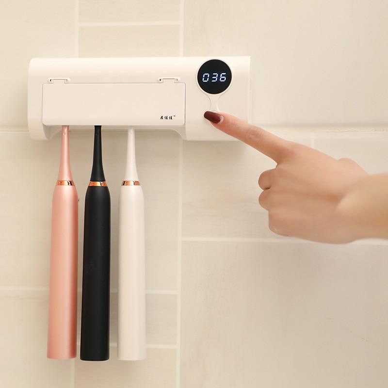 Lámpara UV inteligente de inducción antibacterias, esterilizador dental para cepillo de dientes, soporte para limpieza de pared