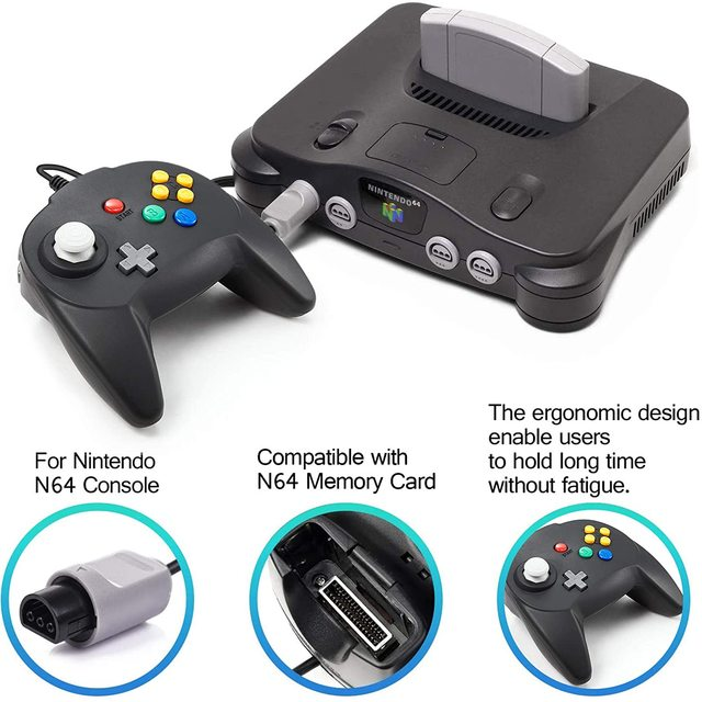 [New Version] 2 Pack for N64 Controller, Mini Game pad Joystick for N 64 Console- Plug & Play (Design from Japan) 2