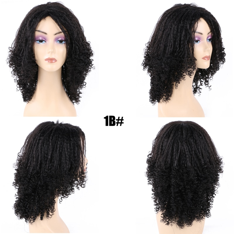 12 Inch Medium Afro kinky Curly Wigs For Black Women Synthetic Kinky Straight High Temperature Fiber Ombre Wigs