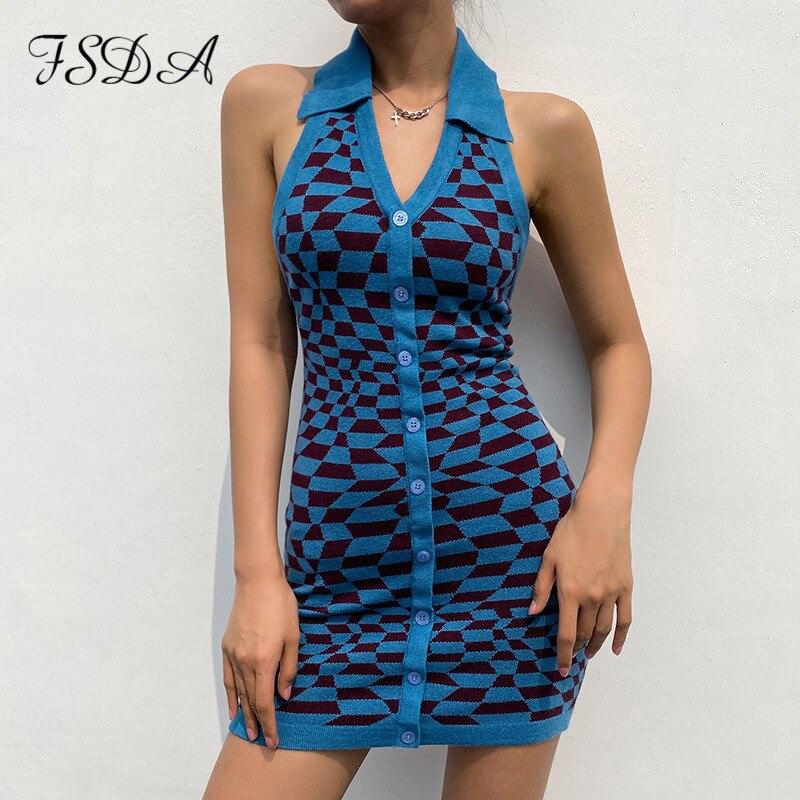 FSDA Plaid Knit V Neck Bodycon Dress Women Backless Y2K 2021 Summer Brown Sleeveless Halter Neck Mini Dresses Sexy