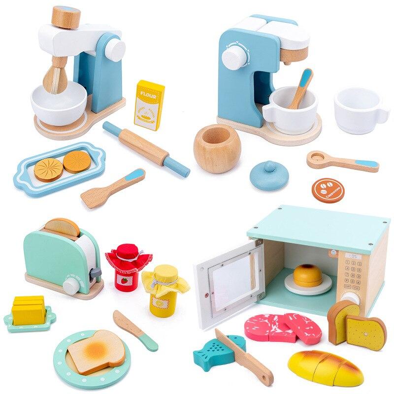 Cocina de madera, juguete para juego de imitación, máquina de café de madera, máquina tostadora Mezclador de alimentos Juguetes educativos de Aprendizaje Temprano de bebé
