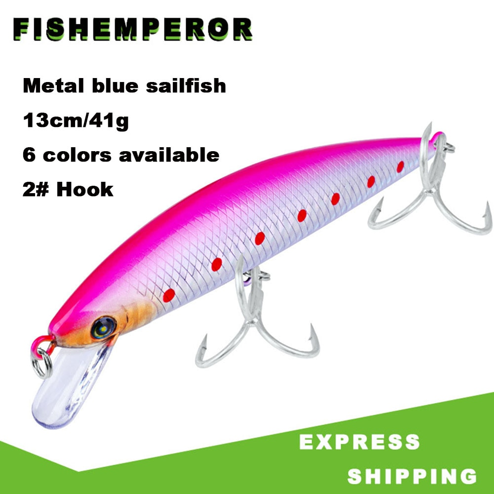 1PCS Wobbler Minnow Fishing Lure 130mm 41g 2# Hooks Hard CrankBaits Allblue Fishing Lure Articulos De Pesca Leurre Mer Kunstaas