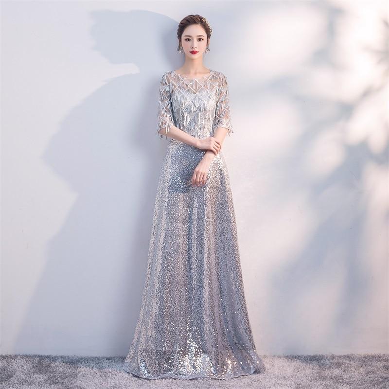 Silver Womens O-Neck Sequin Party Dress Half Sleeve Evening Banquet Elegant Prom Dress Maxi Long Ball Gown Vestido XS-XXL