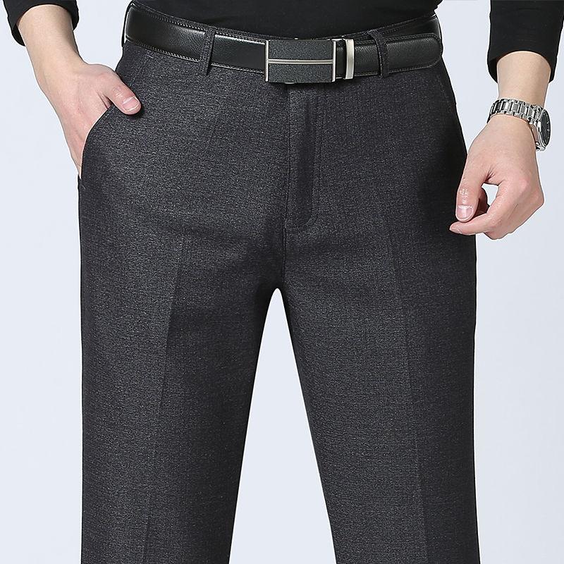 Мужские серые классические деловые Костюмные брюки, Костюмные брюки, мужские повседневные облегающие брюки для офиса и работы