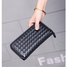 Women Weaving Style Fashion Wallets Female Lingge Long Pu Leather Coin Purses Ladies Card Holder Clu