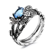 vintage luxury rings females blue crystal dragonfly rings womens wedding jewelry accessories valentines day gift hot sale 2021