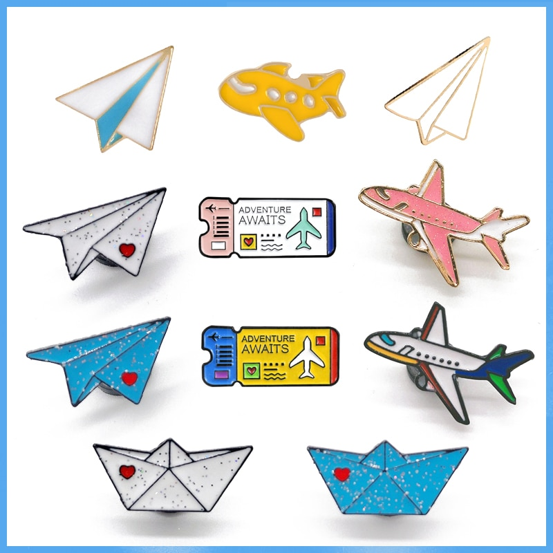 Cartoon Childhood Memory Enamel Pins airplane Boat Brooch Backpack Clothes Button Badge aircraft Tic