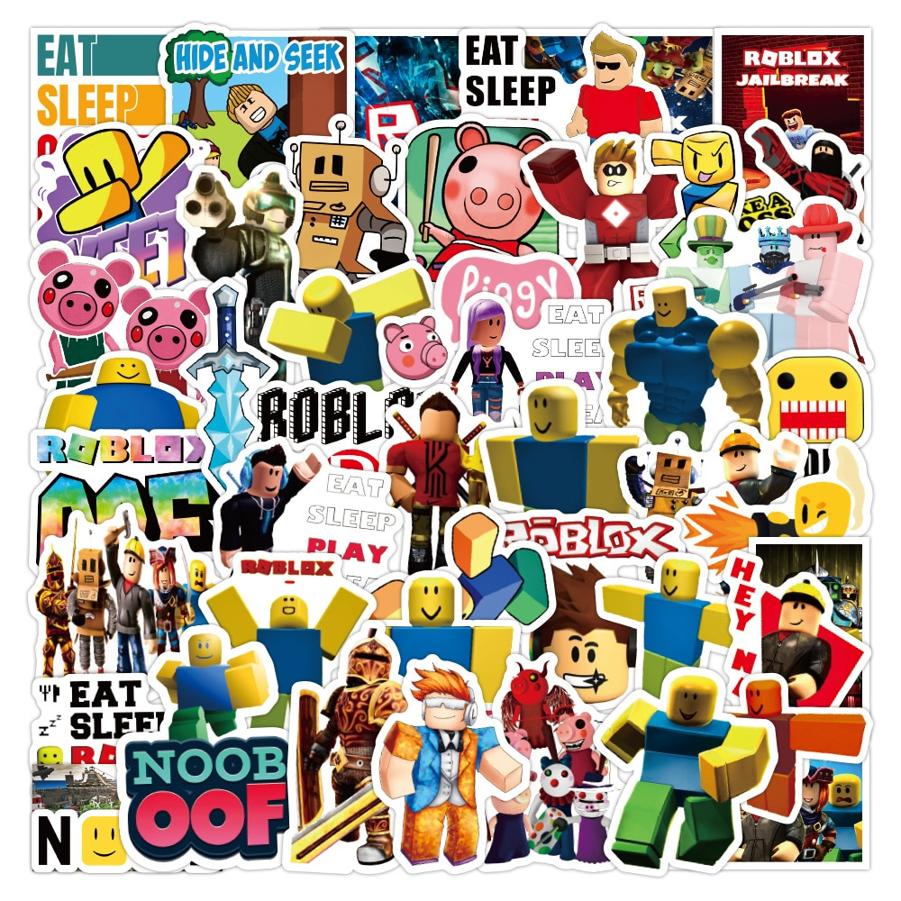 53pcs Game Anime Roblox DynaBlocks Graffiti Stickers DIY Luggage Laptop Scooter Refrigerator Cup Cartoon Stationery Sticker Toys